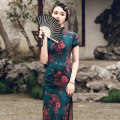 cheongsam Spring 2021 S M L XL 2XL 3XL 4XL Short sleeve long cheongsam Retro High slit daily Oblique lapel Decor 25-35 years old Piping Luxury · style polyester fiber Polyester 100% Pure e-commerce (online only)
