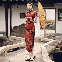 cheongsam Spring 2021 S M L XL 2XL 3XL 4XL Red long cheongsam black long cheongsam Short sleeve long cheongsam Retro High slit daily Oblique lapel Decor 25-35 years old Piping MGFG3956 Luxury · style polyester fiber Polyester 100% Pure e-commerce (online only)