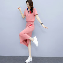 Dress Spring 2021 Pink Black M L XL XXL Mid length dress Two piece set Short sleeve commute V-neck High waist Solid color zipper A-line skirt routine Others 25-29 years old Yi Hui Korean version YRYHASLZ896 More than 95% polyester fiber Polyester 100% Pure e-commerce (online only)