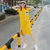 T-shirt S M L XL Summer of 2019 Short sleeve Crew neck Straight cylinder Medium length routine commute other 96% and above 18-24 years old Korean version originality Alphanumeric solid Ziyan Pavilion D2123 Other 100% Pure e-commerce (online only)