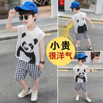 suit Spring 2021 Rocoii 18 months, 2 years old, 3 years old, 4 years old, 5 years old, 6 years old, 7 years old male summer Short sleeve + pants leisure time routine 2 pieces Condom Animal design cotton nothing There are models in the real shot Class B 2021316 children Expression of love white