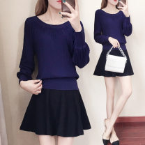 Fashion suit Spring 2021 S,M,L,XL,XXL,XXXL White top + black skirt, black top + black skirt, blue top + black skirt, black single top, blue single top, white single top 25-35 years old Other / other
