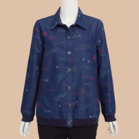 Middle aged and old women's wear Autumn of 2018 Denim blue L,XL,2XL,3XL,4XL leisure time shirt easy singleton  scenery 50-59 years old Cardigan moderate Polo collar routine routine YZH-8155 pure cotton 96% and above Single breasted Long sleeves