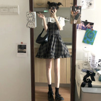 Fashion suit Spring 2021 S. M, average size Short Sleeve T piece, plaid skirt piece 18-25 years old