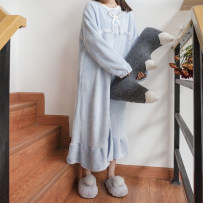Pajamas / housewear set female Other / other Average size Pink Blue Polyester (polyester) Long sleeves Sweet Leisure home winter thickening Crew neck Solid color Front buckle juvenile one-piece garment Twenty-eight longuette
