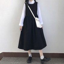 Dress Autumn of 2019 White top (single piece), black skirt (single piece), brown skirt (single piece) Average size Mid length dress Two piece set Long sleeves commute Crew neck High waist Solid color Socket A-line skirt routine straps 18-24 years old Korean version