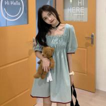 Dress Spring 2021 green S,M,L Short skirt singleton  Short sleeve commute square neck High waist Solid color Socket puff sleeve 18-24 years old Korean version
