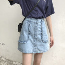 skirt Summer 2021 S,M,L blue Short skirt commute High waist A-line skirt Solid color Type A 18-24 years old Korean version