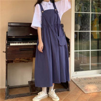 Dress Spring 2021 Pink strap skirt (with bag), blue strap skirt (with bag), black strap skirt (with bag), white T-shirt (single piece), white shirt (single piece) Average size Mid length dress singleton  Sleeveless commute square neck High waist Solid color Socket A-line skirt straps 18-24 years old