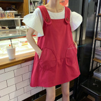 Dress Summer 2021 Average size Middle-skirt Two piece set Short sleeve commute Crew neck A-line skirt 18-24 years old Korean version