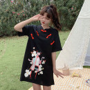 Dress Summer 2021 Black, Chinese Red M, L Middle-skirt singleton  Short sleeve commute stand collar middle-waisted other 18-24 years old Type A Retro