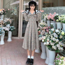 Dress Spring 2021 Picture color S, M Mid length dress singleton  Long sleeves commute Admiral High waist lattice Socket A-line skirt bishop sleeve 18-24 years old Type A Korean version
