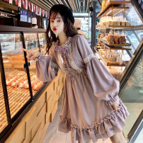 Dress Spring 2021 Picture color Average size Middle-skirt singleton  Long sleeves Sweet Elastic waist Pleated skirt bishop sleeve 18-24 years old Type A polyester fiber solar system
