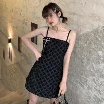 Dress Summer 2021 White, black S, M Middle-skirt singleton  Sleeveless commute High waist Solid color Socket camisole 18-24 years old Korean version