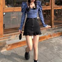 skirt Summer 2021 S, M Plaid Shirt piece, skirt piece Short skirt commute High waist A-line skirt Type A 18-24 years old Lace Korean version