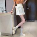 skirt Summer 2021 S,M,L White, black Short skirt commute High waist A-line skirt Solid color Type A 18-24 years old bow Korean version