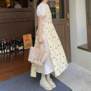 Dress Summer 2021 Floral vest skirt piece, white dress piece Average size Mid length dress Two piece set Short sleeve commute Crew neck High waist Broken flowers Socket A-line skirt puff sleeve 18-24 years old Type A Korean version
