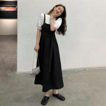 Dress Summer 2021 The coat is white and the dress is black Average size Mid length dress singleton  Sleeveless commute square neck High waist Solid color Socket A-line skirt straps 18-24 years old Type A Korean version