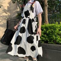 Dress Summer 2021 Cow strap skirt Average size Mid length dress singleton  Sleeveless Sweet square neck High waist Socket Big swing 18-24 years old Type A solar system