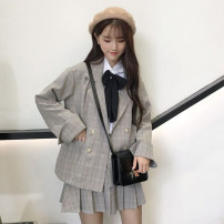 Fashion suit Spring 2021 S. M, average size White shirt [one piece], plaid suit [two piece] 18-25 years old