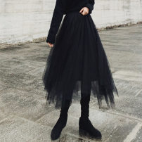skirt Autumn of 2019 Average size black Mid length dress High waist A-line skirt Solid color Type A 18-24 years old 30% and below other other