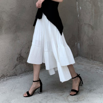 skirt Summer 2020 S,M,L White, black Mid length dress Versatile High waist Pleated skirt Solid color Type A 18-24 years old 51% (inclusive) - 70% (inclusive) Chiffon cotton