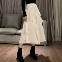 skirt Autumn 2020 Average size white Mid length dress commute High waist Irregular Solid color Type A b - 0120 31% (inclusive) - 50% (inclusive) other other Lotus leaf edge