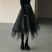 skirt Winter of 2019 Average size Black ash Mid length dress High waist Irregular Solid color Type A 18-24 years old other