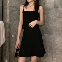 Dress Summer 2020 black Average size Mid length dress Sleeveless commute One word collar High waist Socket Cake skirt routine camisole 18-24 years old Type A Korean version 31% (inclusive) - 50% (inclusive)