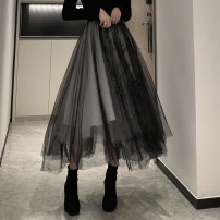 skirt Autumn 2020 S,M,L black Mid length dress commute High waist Irregular Solid color Type A B-0106 31% (inclusive) - 50% (inclusive) other other Gauze Retro