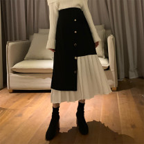 skirt Spring 2020 S,M,L black Middle-skirt commute High waist Pleated skirt Solid color Type A 18-24 years old 30% and below other other Retro