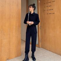 Women's large Spring 2021 Black coat, black trousers L [genuine quality assurance], 1XL [genuine quality assurance], 2XL [genuine quality assurance], 3XL [genuine quality assurance], 4XL [genuine quality assurance] MN0161 Blue language