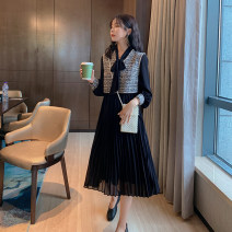 Women's large Spring 2021 Black, black L [genuine quality assurance], 1XL [genuine quality assurance], 2XL [genuine quality assurance], 3XL [genuine quality assurance], 4XL [genuine quality assurance] Dress Two piece set commute Self cultivation moderate Socket Long sleeves Solid color Ol style IL256