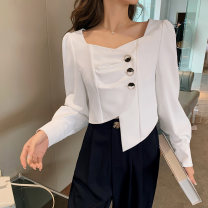 Women's large Spring 2021 white L [genuine quality assurance], 1XL [genuine quality assurance], 2XL [genuine quality assurance], 3XL [genuine quality assurance], 4XL [genuine quality assurance] shirt singleton  commute easy moderate Cardigan Long sleeves Solid color Ol style square neck MS005 Button