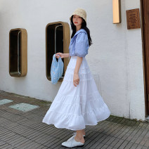 Women's large Summer 2020 White spot L [genuine quality assurance], 1XL [genuine quality assurance], 2XL [genuine quality assurance], 3XL [genuine quality assurance], 4XL [genuine quality assurance] skirt singleton  commute easy thin Solid color Korean version polyester fiber JQ776 Blue language