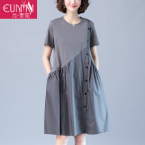 Dress Summer of 2019 Black gray Pink Blue M L XL 2XL Middle-skirt singleton  Short sleeve commute Crew neck Loose waist Solid color Socket Big swing routine Others 40-49 years old Type A Eunmsi / Yun Maisi Simplicity Pleated stitching YMS19Y978-1Y702 More than 95% cotton Cotton 100%