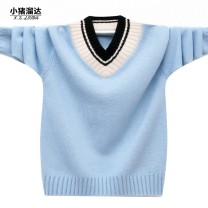 Sweater / sweater wool male college No model Socket routine V-neck nothing Ordinary wool Solid color Wool 100% XZ1832 Class B Long sleeves Autumn of 2019 spring and autumn 6 years old, 7 years old, 8 years old, 9 years old, 10 years old, 11 years old, 12 years old, 13 years old and 14 years old