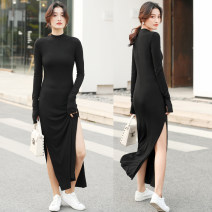 Dress Autumn 2020 black S,M,L,XL,2XL longuette singleton  Long sleeves commute Half high collar middle-waisted Solid color Socket other routine Others 25-29 years old Type H Korean version 51% (inclusive) - 70% (inclusive) knitting cotton