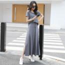 skirt Summer 2020 S,M,L,XL,2XL Dark grey (super long suit), black (super long suit), dark grey (long suit), black (long suit), one piece skirt (black super long), one piece skirt (dark grey super long), one piece skirt (black long), one piece skirt (dark grey long) longuette commute Natural waist