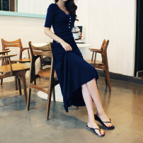 Dress Summer 2021 Black, blue S,M,L,XL,2XL longuette singleton  Long sleeves commute Half open collar middle-waisted Solid color Socket Big swing routine 25-29 years old Type A Korean version 31% (inclusive) - 50% (inclusive) modal