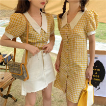 Dress Summer 2021 30129 top yellow, 30130 dress yellow S, M Mid length dress singleton  Short sleeve commute V-neck High waist lattice Socket A-line skirt puff sleeve Others 18-24 years old Type A Korean version 30129 Top + 30130 dress# 81% (inclusive) - 90% (inclusive) other cotton