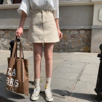 skirt Summer 2020 S,M,L Off white, black Short skirt High waist A-line skirt Solid color Type A 18-24 years old 30% and below Denim cotton
