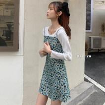 Dress Summer 2021 White cardigan, suspender dress Average size Mid length dress Long sleeves High waist 18-24 years old