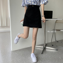 skirt Spring 2021 S,M,L Black, pink Short skirt commute High waist A-line skirt Solid color Type A 18-24 years old 51% (inclusive) - 70% (inclusive) zipper Korean version