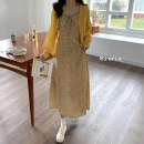 Fashion suit Summer 2021 Average size Yellow suspender skirt, knitted cardigan, two piece set 18-25 years old 81% (inclusive) - 90% (inclusive)