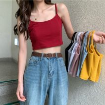 Vest sling Summer 2020 Light blue, gray, white, red, yellow, black, pink Average size singleton  routine Self cultivation camisole Solid color