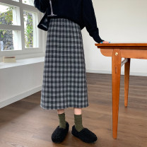 skirt Autumn 2020 Average size Haige, Xingge Mid length dress High waist A-line skirt 18-24 years old