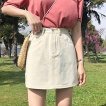 skirt Summer of 2019 S,M,L,XL Black, beige Short skirt Versatile High waist A-line skirt Solid color Type A 18-24 years old 91% (inclusive) - 95% (inclusive) Denim cotton