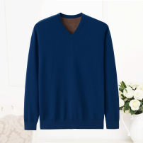T-shirt / sweater Xingrong Youth fashion Sky blue, navy blue 105 110 115 120 125 thickening Socket V-neck Long sleeves winter Straight cylinder 2017 Cashmere (cashmere) 100% leisure time Exquisite Korean style youth routine Solid color Fall 2017 No iron treatment Coarse wool (8, 6) Sticking cloth
