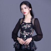 Lace / Chiffon Summer 2020 Black short sleeves, black long sleeves S,M,L,XL,2XL,3XL,4XL,5XL Short sleeve Versatile Socket singleton  Self cultivation Regular Lotus leaf collar Decor Princess sleeve 30-34 years old Love with pearls and flowers 31% (inclusive) - 50% (inclusive) polyester fiber